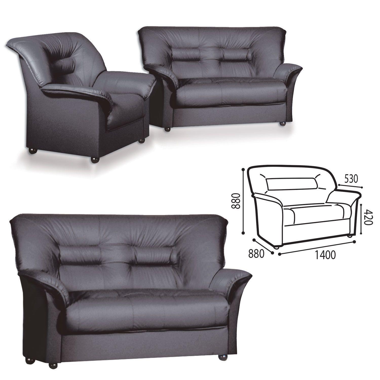 """GARTLEX / Sofa soft double """"Premier"""", """"V-100"""", 1400х880х880 mm, with armrests, eco-leather, black"""