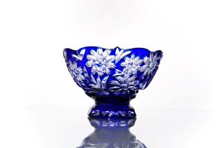 """Crystal vase for fruit """"Victory"""" small blue"""