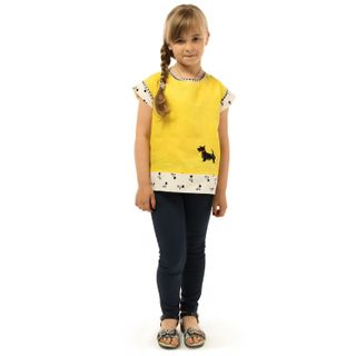 """Blouse children's """"Faithful friend"""" in yellow with silk embroidery"""