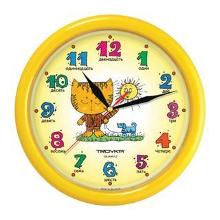 Wall clock TROYKA 21250290, round, yellow with picture of