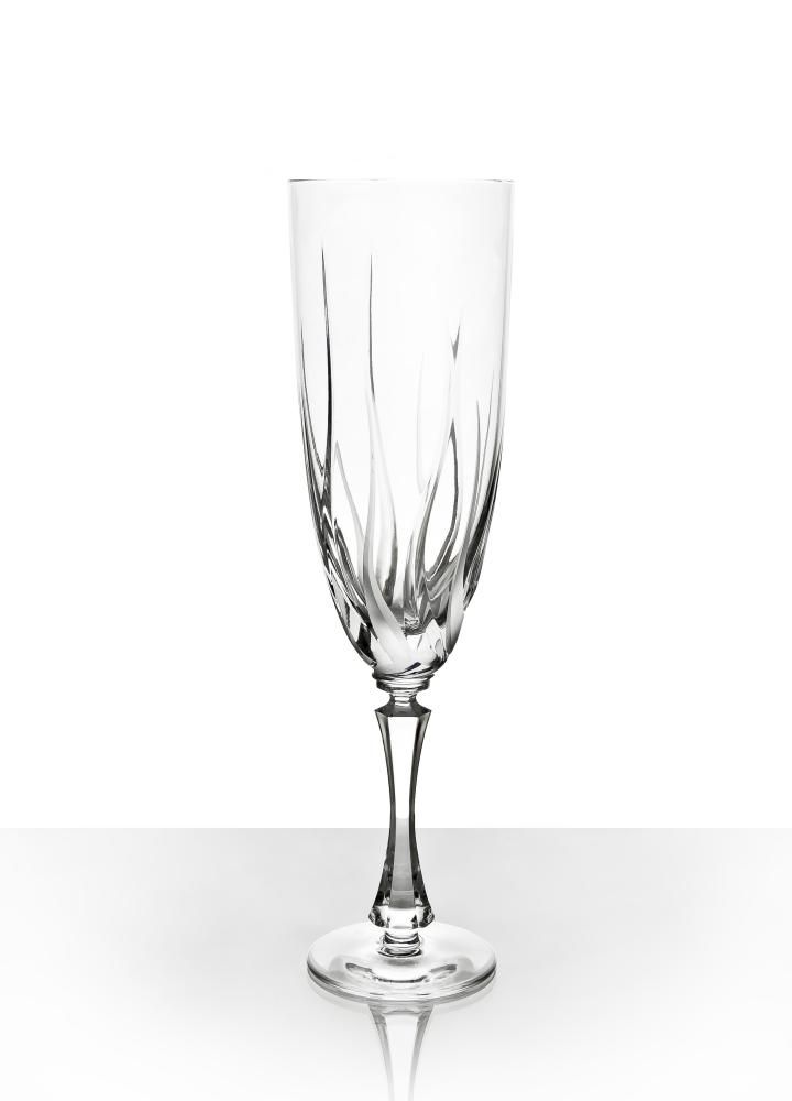 """Set of crystal glasses for water """"Flame"""" 6 pieces"""