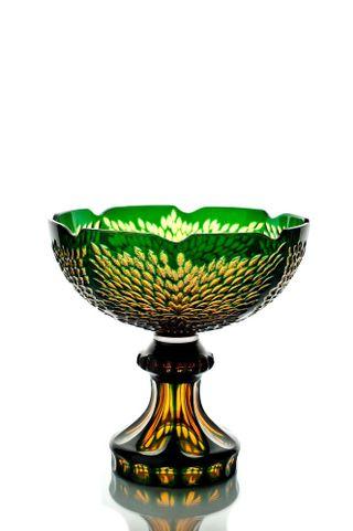 "Crystal vase for fruit ""Triumph"" amber-green"