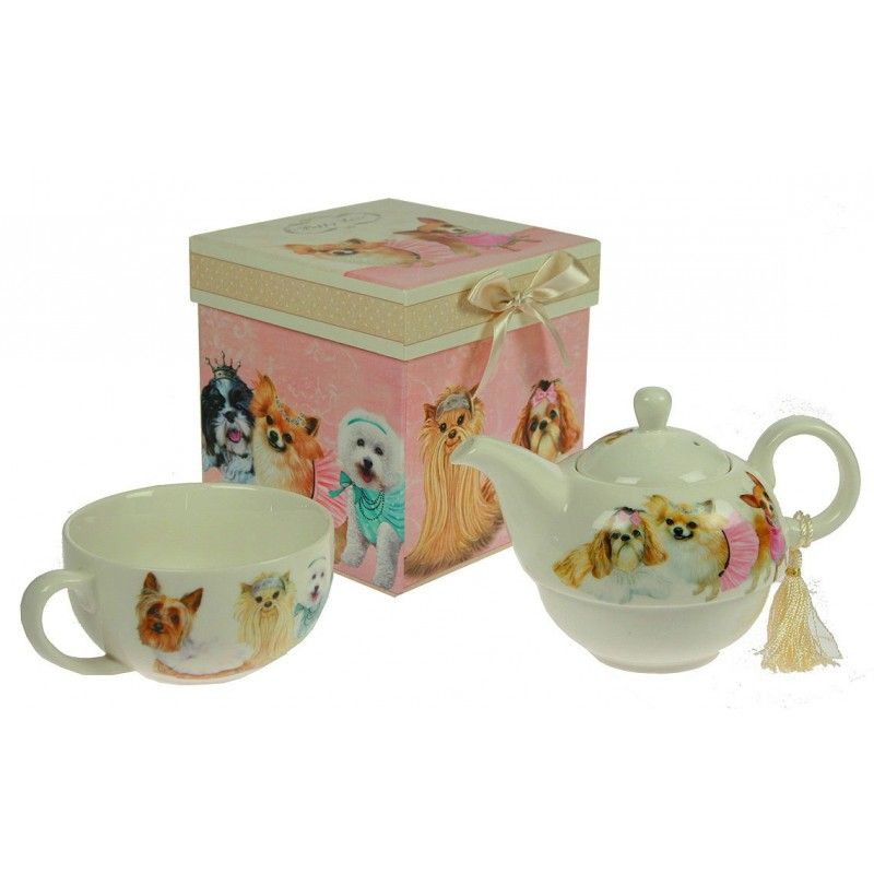 """New Year's gift """"Tea solo"""" teapot, cup + set of figured chocolate 150g."""