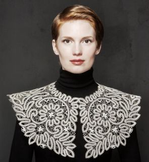 Collar lace with ornaments of flowers and branches with leaves