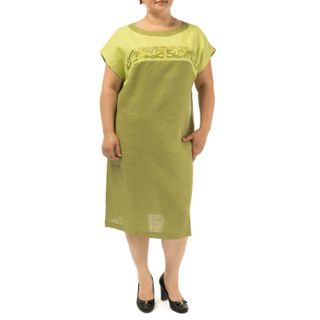 Dress womens Gloria green with silk embroidery