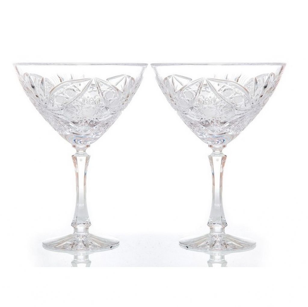 """Set of crystal martini glasses """"Machaon"""" 2 pieces"""