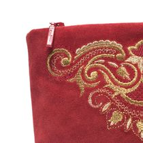 Suede cosmetic bag 'Morning' red color with Golden embroidery