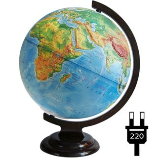 Physical relief globe with a diameter of 320 mm on a wooden stand with backlight