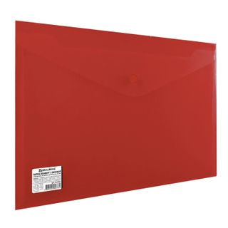 Folder-envelope with button BRAUBERG, A4, 100 sheets, opaque red, heavy-duty 0.2 mm