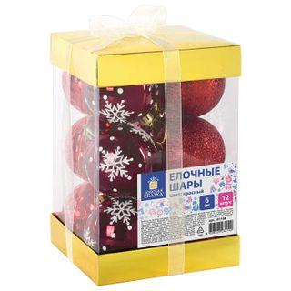 Golden fairy tale / Christmas tree balls SET 12 pcs., Plastic, 6 cm, RED, gloss, glitter, drawing