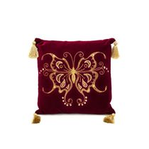 Cushion divan 'swallowtail' Burgundy with gold embroidery