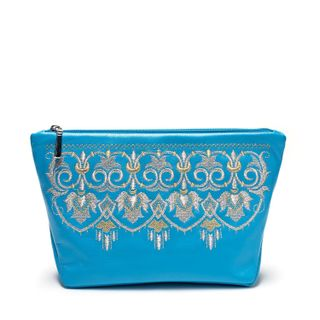 "Leather cosmetic bag ""Fringe"" blue with gold embroidery"