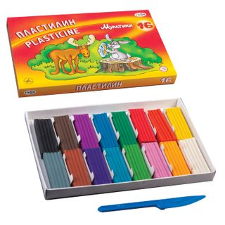 Clay classic GAMMA Cartoons 16 colors, 320 g, with stack, carton