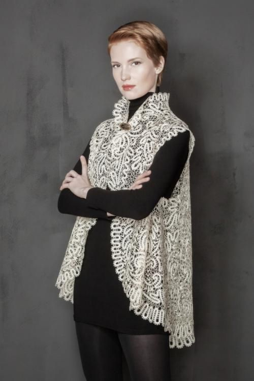 Womens lace blouse with collar, shapes a-line