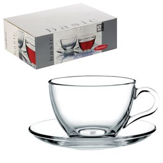 "PASABAHCE / Tea set ""Basic"" for 6 persons (6 mugs 215 ml, 6 saucers), glass"