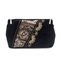 Suede cosmetic bag 'Sunrise' in black with gold embroidery