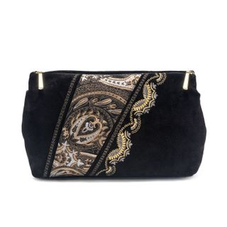 "Suede cosmetic bag ""Sunrise"" in black with gold embroidery"