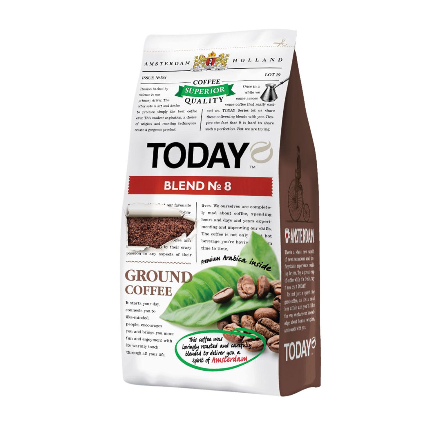 """TODAY / Ground coffee """"Blend No. 8"""" natural 100% Arabica, vacuum packaging 200 g"""