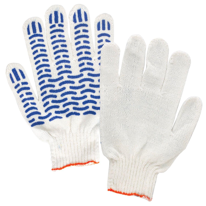 LIME / Cotton gloves STANDARD, SET 5 PAIRS, 7,5 class, 46-48 g, 166 tex, PVC wave, WHITE