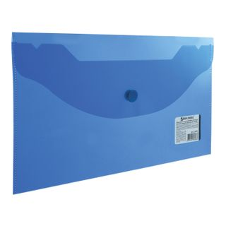 Folder-envelope with button SMALL FORMAT (250х135 mm), clear, blue, 0.18 mm, BRAUBERG