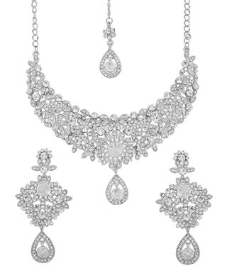 Touchstone White Plated Indian Bollywood White Stunning Diamante Bridal Jewelry Necklace Set For Women