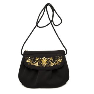 "Bag ""Bindweed"" in black with gold embroidery"