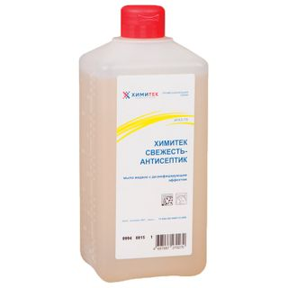 "KHIMITEK / Liquid disinfectant soap 1 l, ""Freshness-antiseptic"", softening, cork"