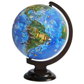Children's globe 250mm on wooden stand, art 10558