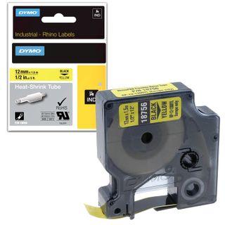 DYMO Rhino Label Printer Cartridge 12mm x 1.5m Heat Shrink Tubing Black Font Yellow Tube