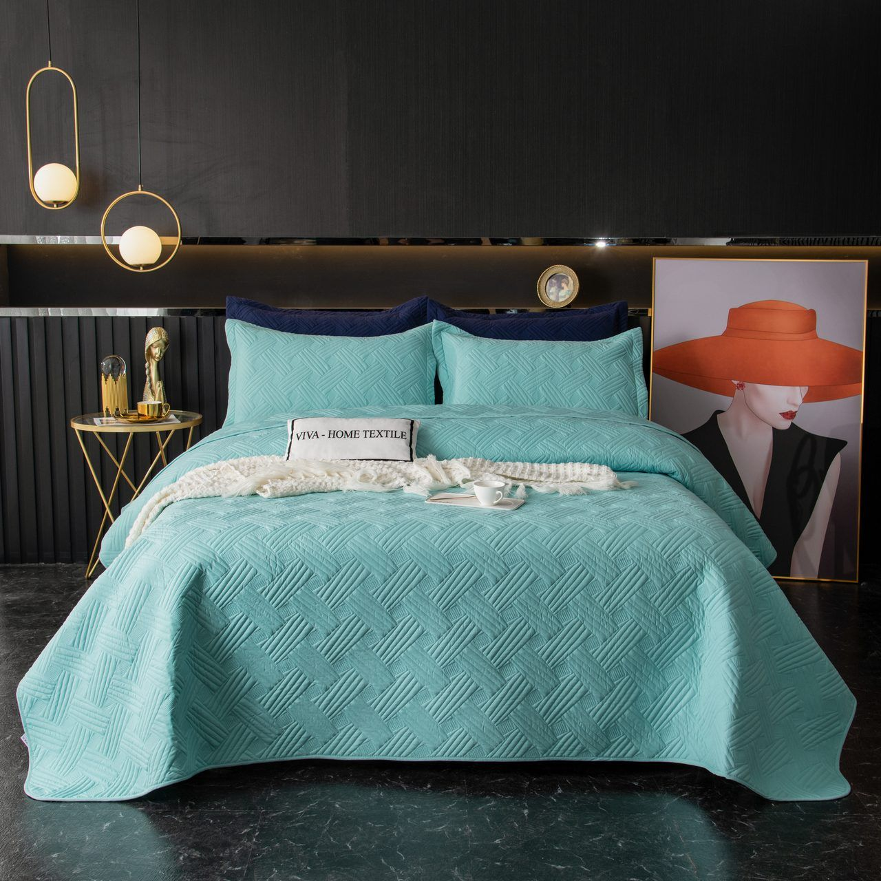 Sitrade / Set single color quilted bedspread and two pillowcases 50-70, OP023