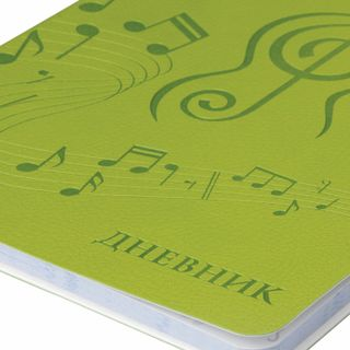 Diary for music school 48 sheets, cover leather (light), thermal embossment, BRAUBERG, green