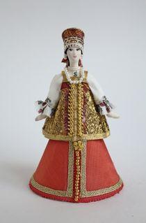 Doll gift porcelain. Russian girl. Box.