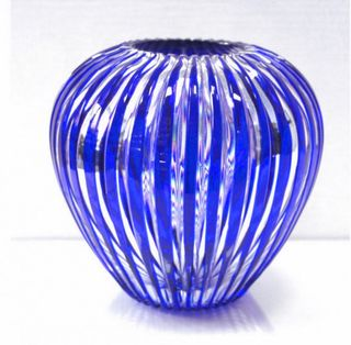 "Crystal vase ""Cascade"" small blue"