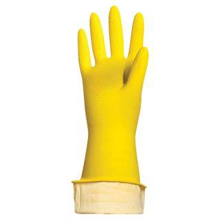 LYUBASHA / Latex household gloves ECONOMY, REUSABLE, cotton dusting, size L (large)