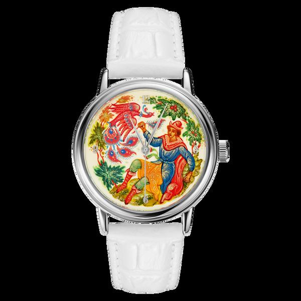 """Palekh watch """"Firebird №26"""" quartz, hand-painted, artist Smirnov, white band"""
