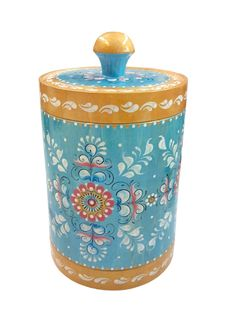 "Wooden barrel ""Shenkur blue painting"" 18 cm"