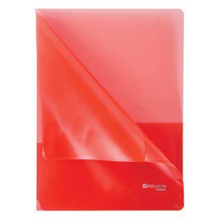 Folder corner with 2 pockets BRAUBERG, red, 0.18 mm
