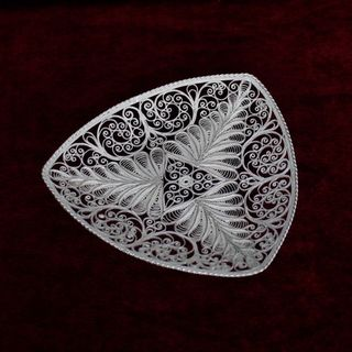 "Plate ""his beloved"" silvering, Kazakovo Filigree"