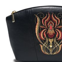 Leather pouch iris black with gold embroidery
