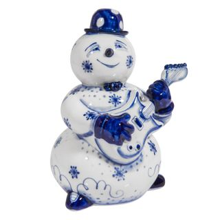 The sculpture Snowman with guitar 2 grade, Gzhel Porcelain factory