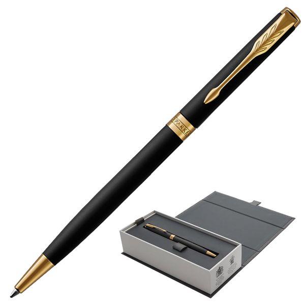 Ballpoint pen PARKER 'Sonnet Matt Black GT Core Slim', slim case, black lacquer, gold plated parts, black