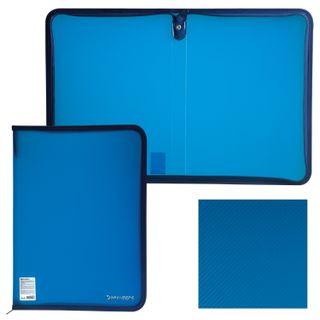 The zip folder, plastic, A4, volume, 335х240х20 mm, tinted blue, BRAUBERG, Russia