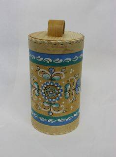 """Box of birch bark """"Shenkurskiy blue painted"""" the height of 19 cm"""