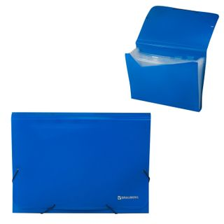 Folder on elastics BRAUBERG, A4, 7 pockets, plastic indexes, blue, Russia