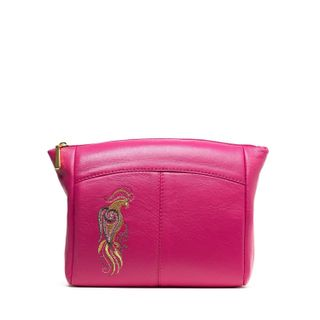 """Leather cosmetic bag """"Bird"""" pink color with Golden embroidery"""