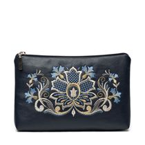Zipper 'Cornflower' blue color with silver embroidery