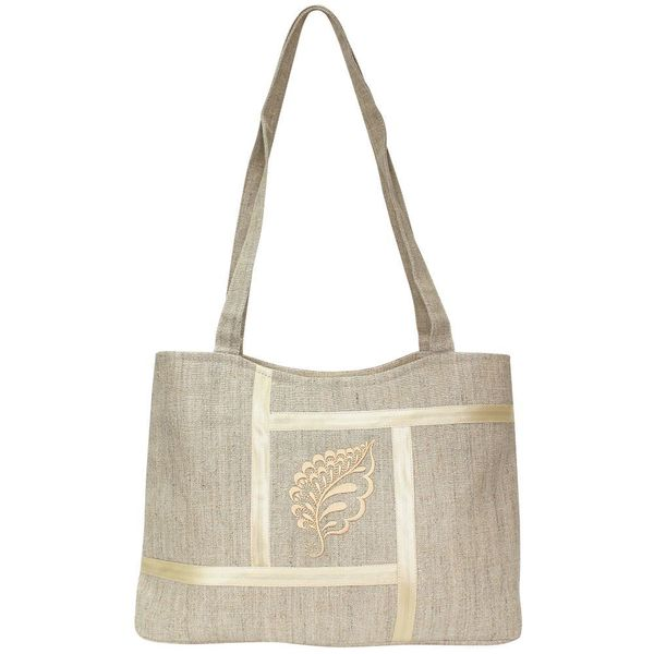 Linen bag 'Leaf' gray with silk embroidery