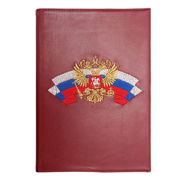 Torzhok gold embroidery / Diary 'Symbols' burgundy with gold embroidery