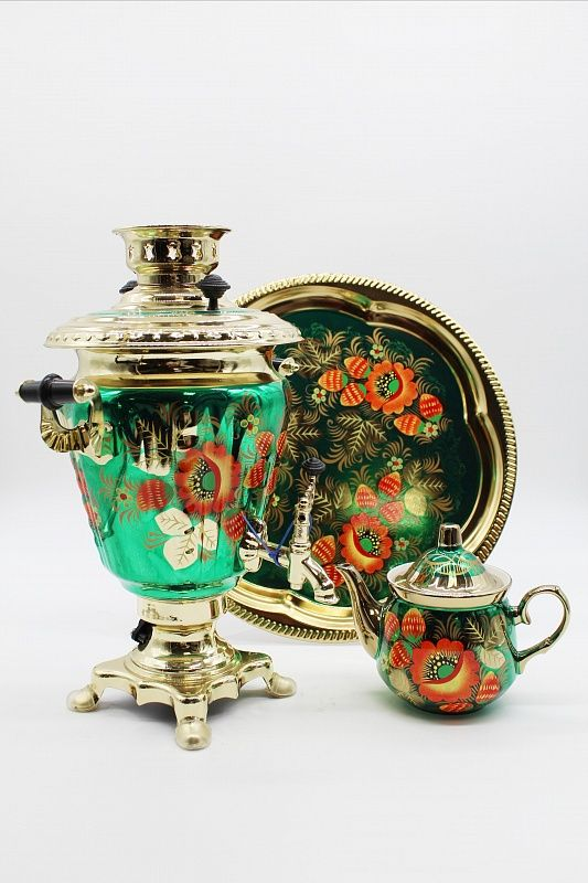 "Dulevo porcelain / Electric samovar 3 l. ""Poppies on green"" in the set"
