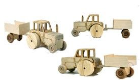 Tractor with a trailer - wooden educational toy for children